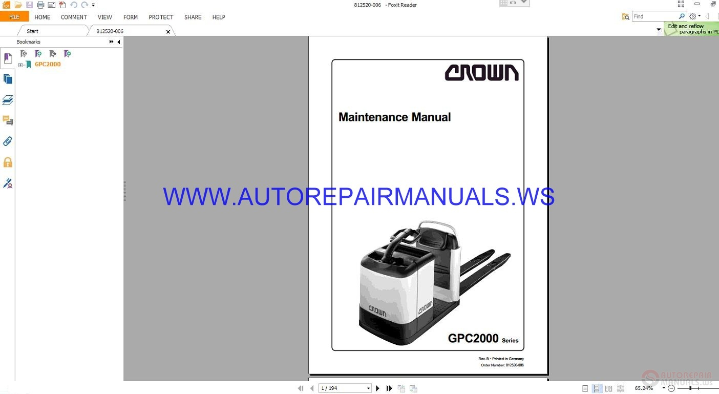 Crown Forklift Gpc2000 Series Maintenance Manual 812520 border=