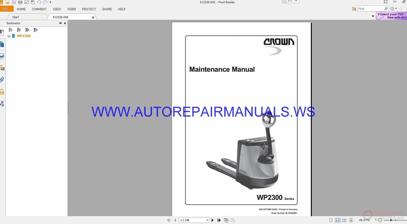 Crown Forklift Wp2300 Series Maintenance Manual 812528 006 border=