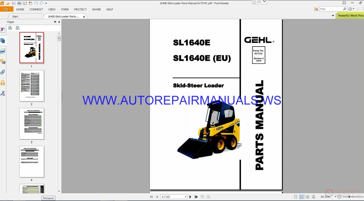 gehl sl1640e skid steer loader parts manual 917374c auto repair rh autorepairmanuals ws Gehl Online Parts Order Gehl Replacement Parts