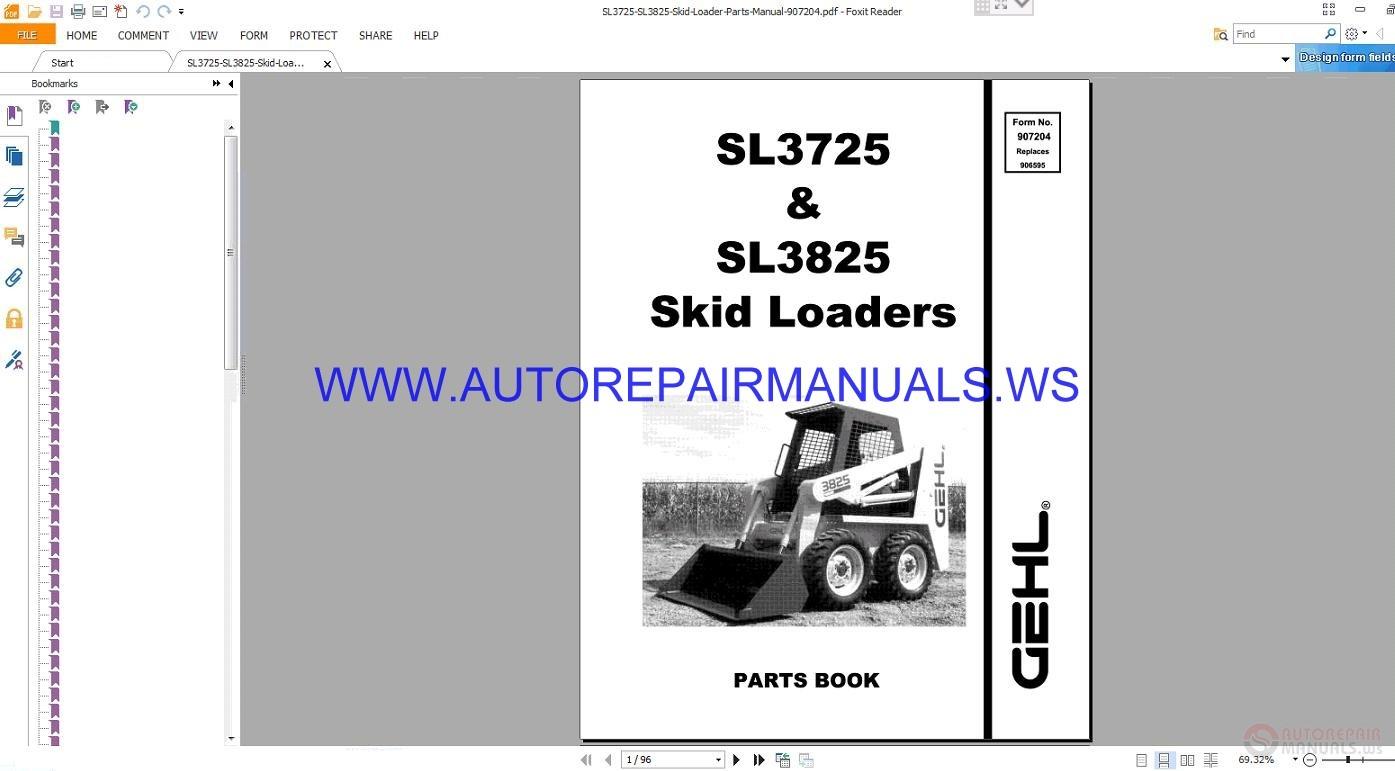 Gehl SL3725 Skid Sreer Loaders Parts Manual 907204 | Auto Repair