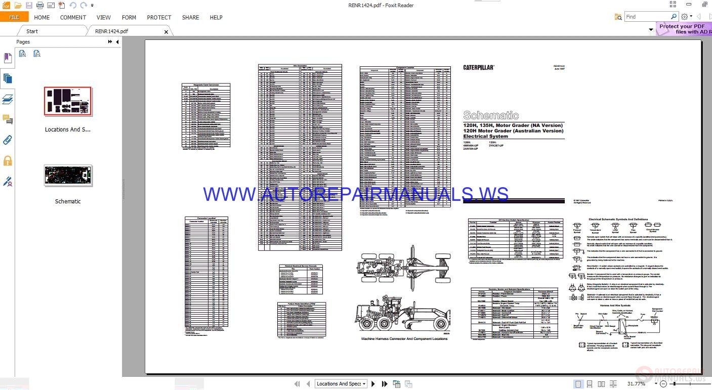 caterpillar 120h  u0026 135h motor grader electrical schematics manuals renr1424
