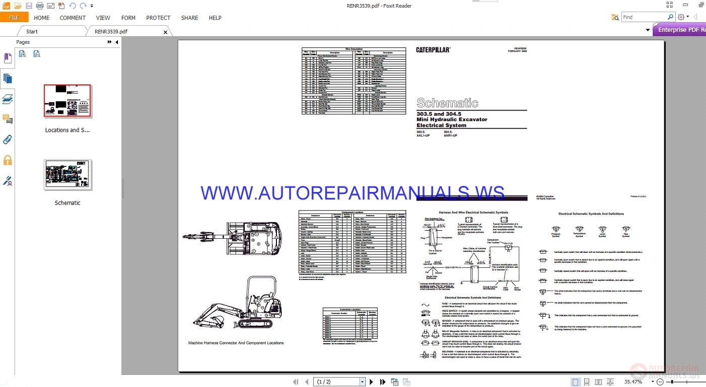 Caterpillar 303 5 And 304 5 Mini Hydraulic Excavator Electrical Schematics Manuals Renr3539