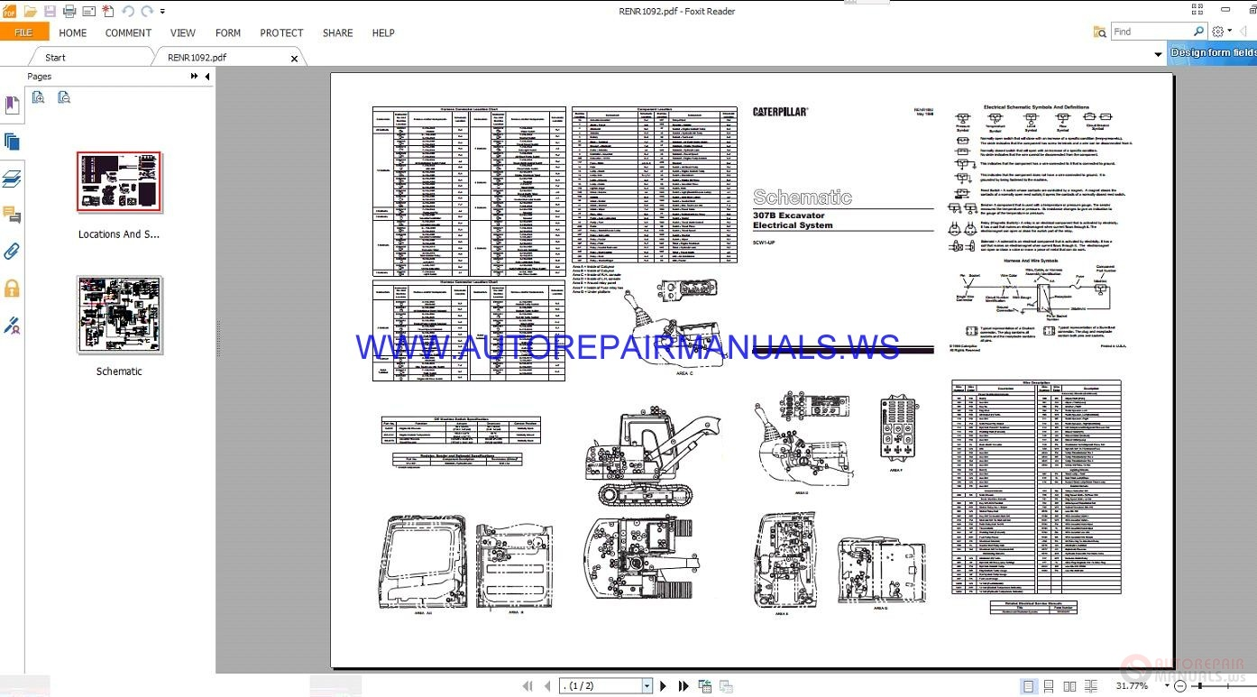 Caterpillar 307b Excavator Electrical Schematics Manuals