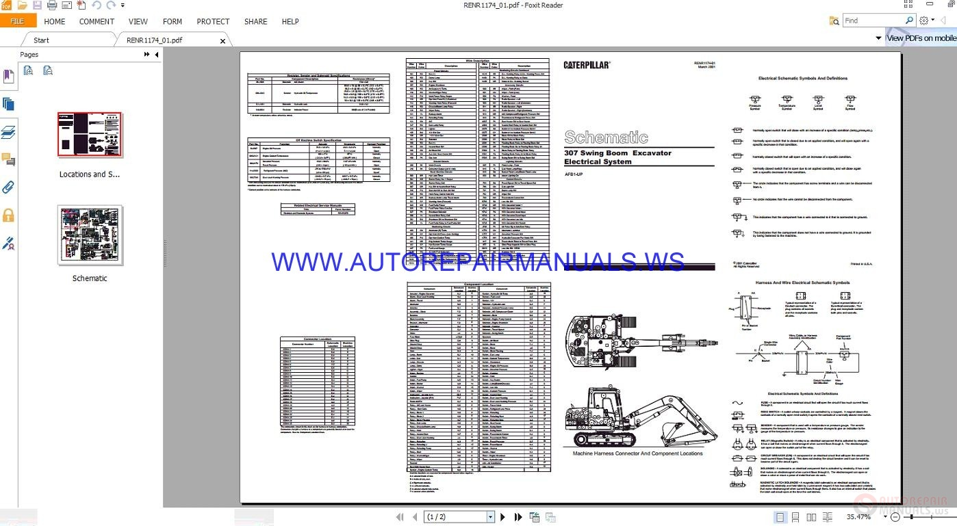 Caterpillar Swing Boom Excavator Electrical System Wiring Diagrams Schematics Manuals Renr on 3126 Cat Engine Electrical Diagram