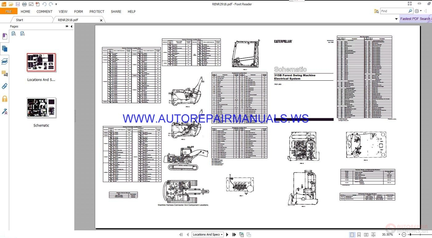 caterpillar 315b forest swing machine electrical schematics manuals renr2918