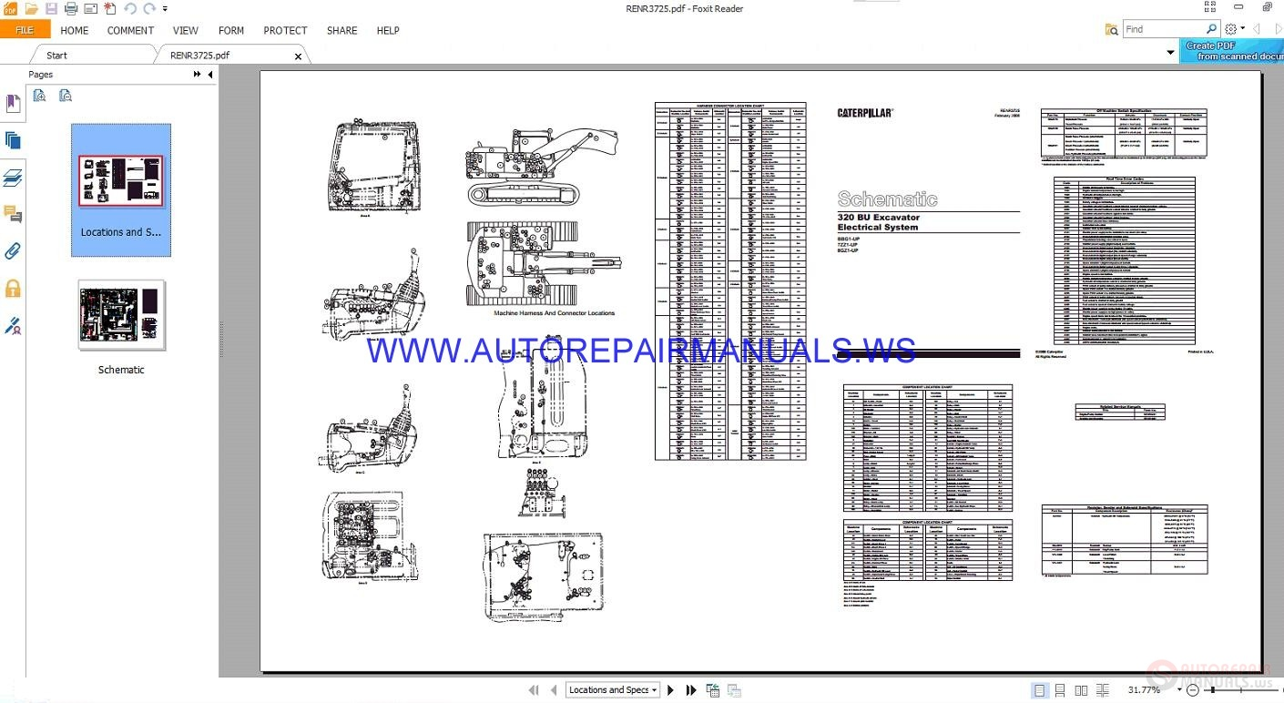 Caterpillar Full Wiring Diagrams Schematics Manual Auto Repair Cat Telehandler 320 Bu Excavator Electrical Manuals