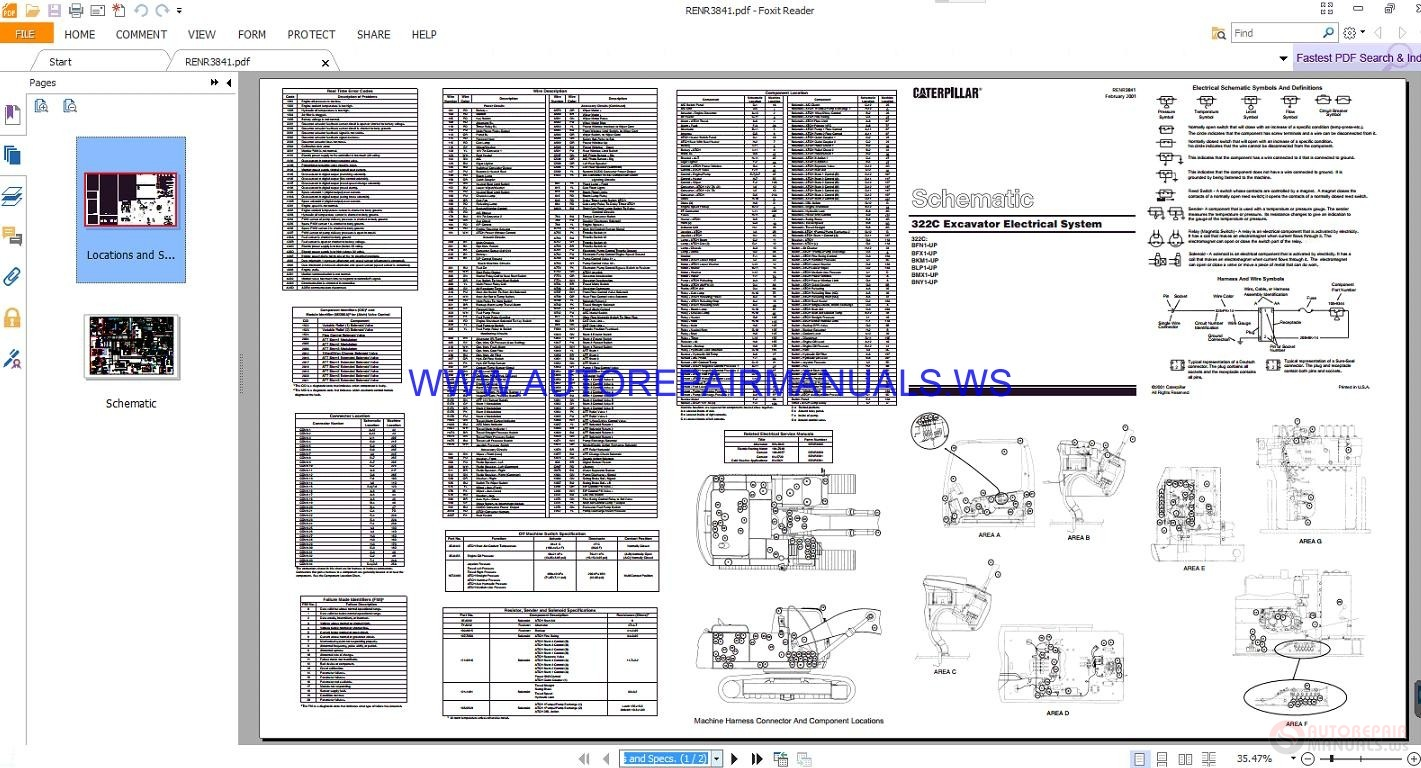 Caterpillar 322c Excavator Electrical Schematics Manuals