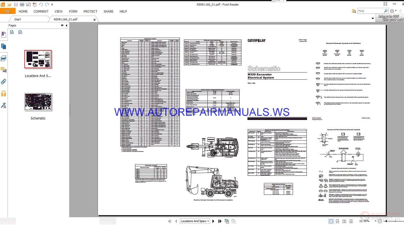 Caterpillar M320 Excavator Electrical Schematics Manuals