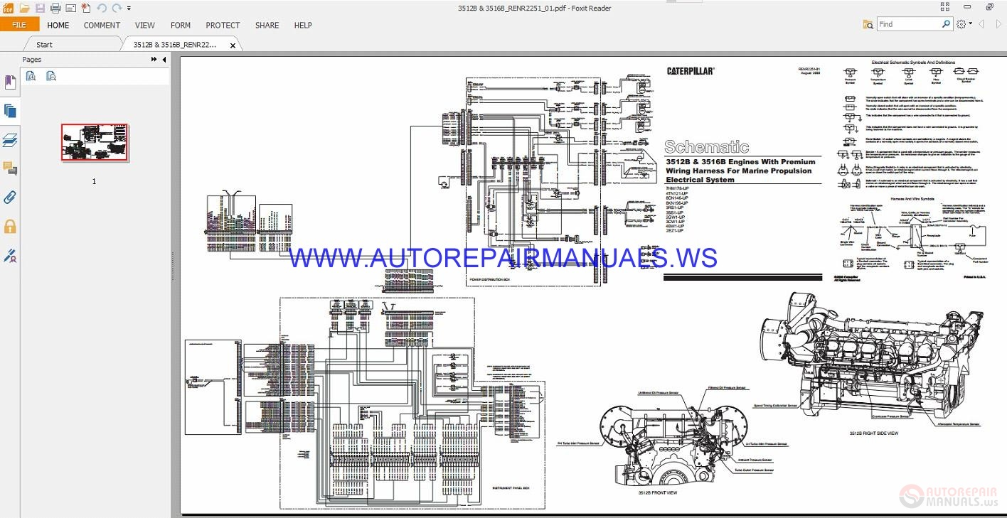 Caterpillar 3512b  U0026 3516b Engines Electrical Schematics Manuals