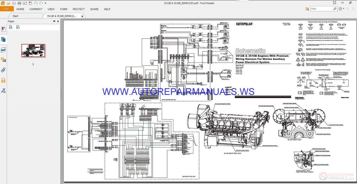 Caterpillar 3512b 3516b Engines Electrical Schematics Manuals Cat Wiring Diagram Img