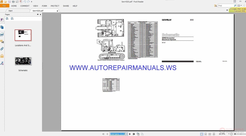 Caterpillar 205b Excavator Electrical Schematics Manuals Senr4320