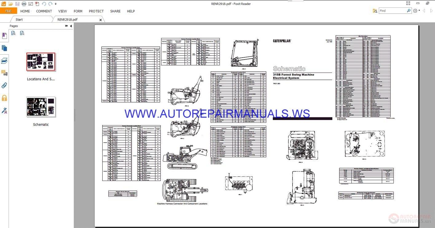auto repair manuals  caterpillar 315b forest swing machine