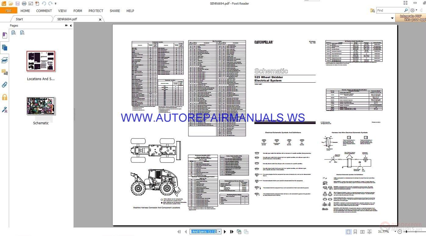 Caterpillar 525 Wheel Skidder Electrical Schematics Manuals