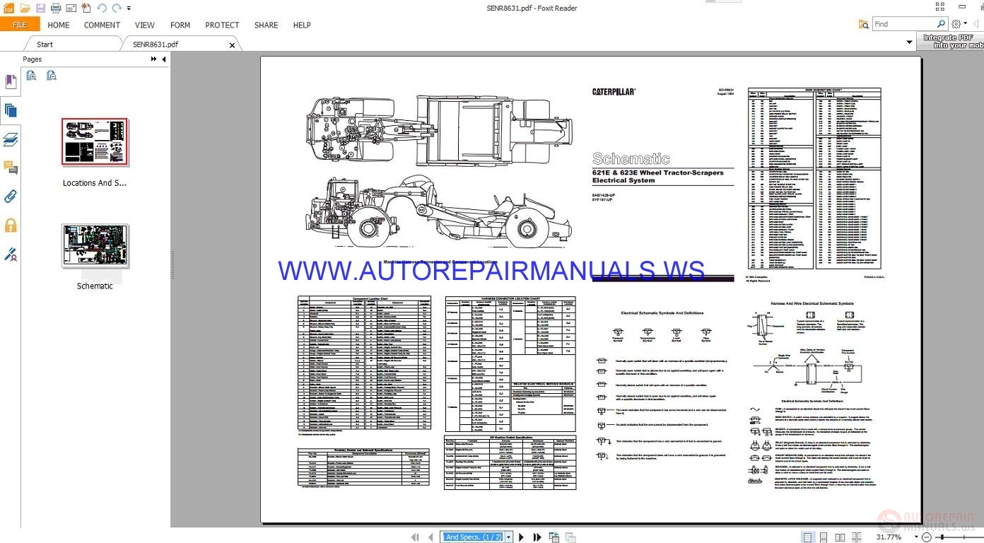 Caterpillar 621e Wiring Diagram Electrical Takeuchi Tl140 Solenoid 623e Wheel Tractor Scrapers Schematics Rh Autorepairmanuals Ws