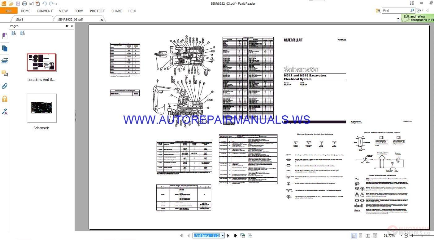 caterpillar m312 m315 excavators electrical schematics manuals senr8932 03