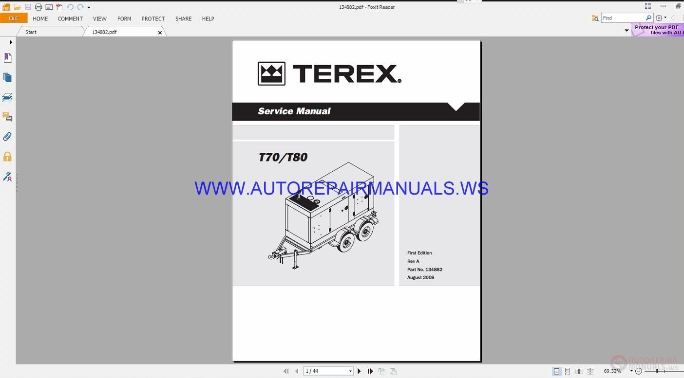 terex t70 80 service manual 134882 auto repair manual. Black Bedroom Furniture Sets. Home Design Ideas