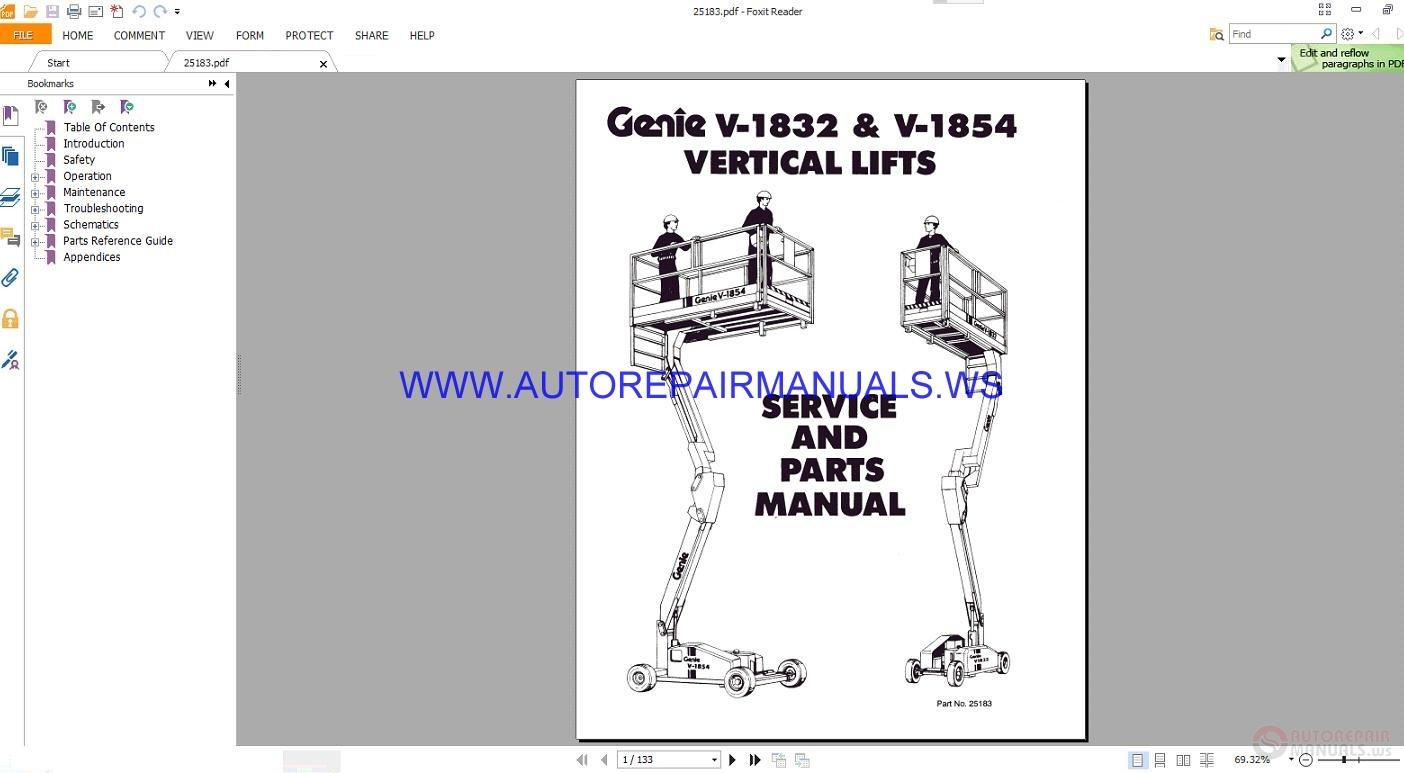 terex genie v1832 1854 vertical lift service and parts. Black Bedroom Furniture Sets. Home Design Ideas
