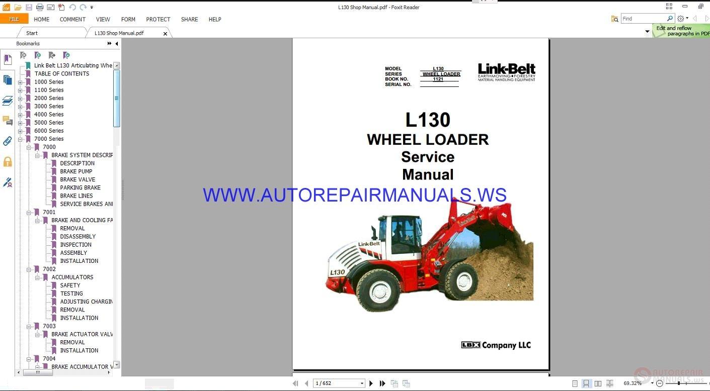 Link Belt L130 Wheel Loader Service Manual