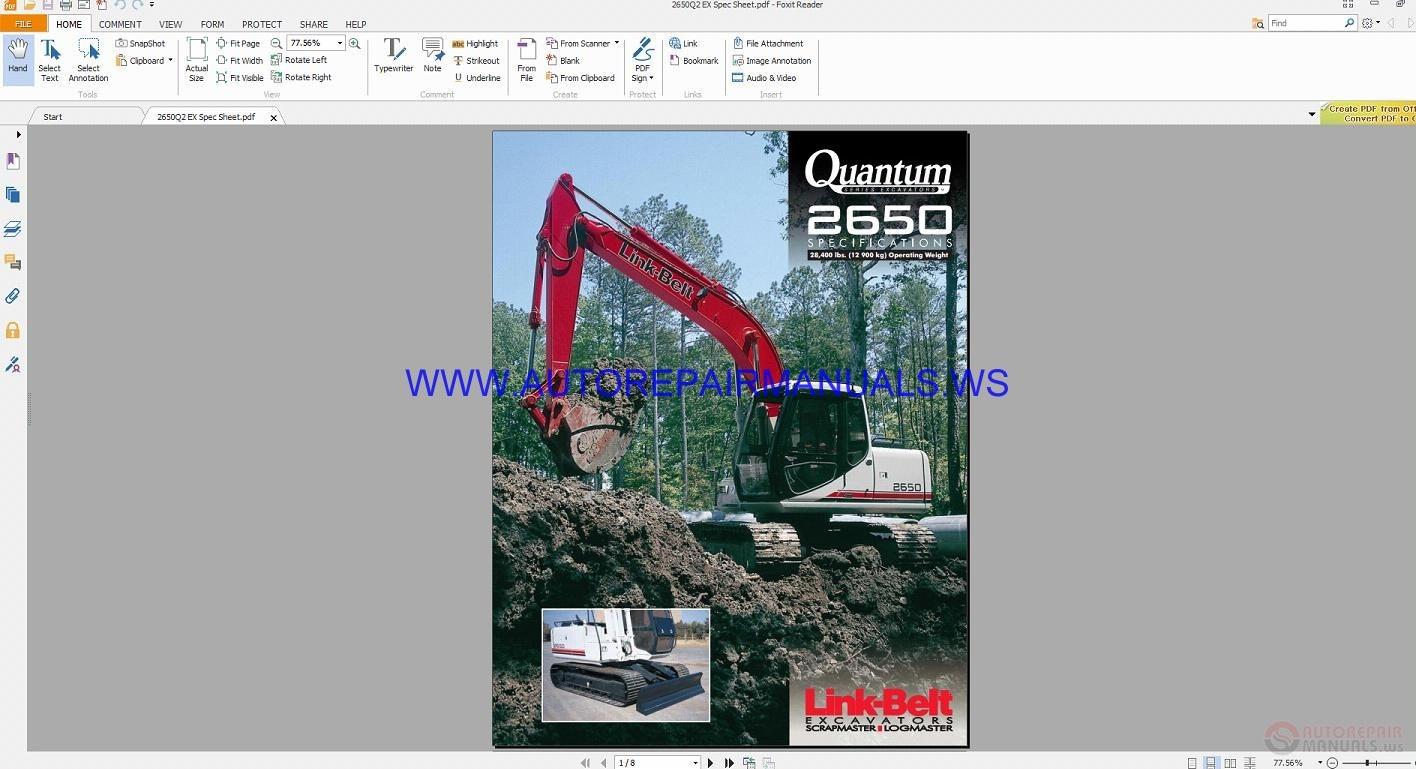 Link Belt 2650q2 Quantum Excavator Schematic Shop Manual