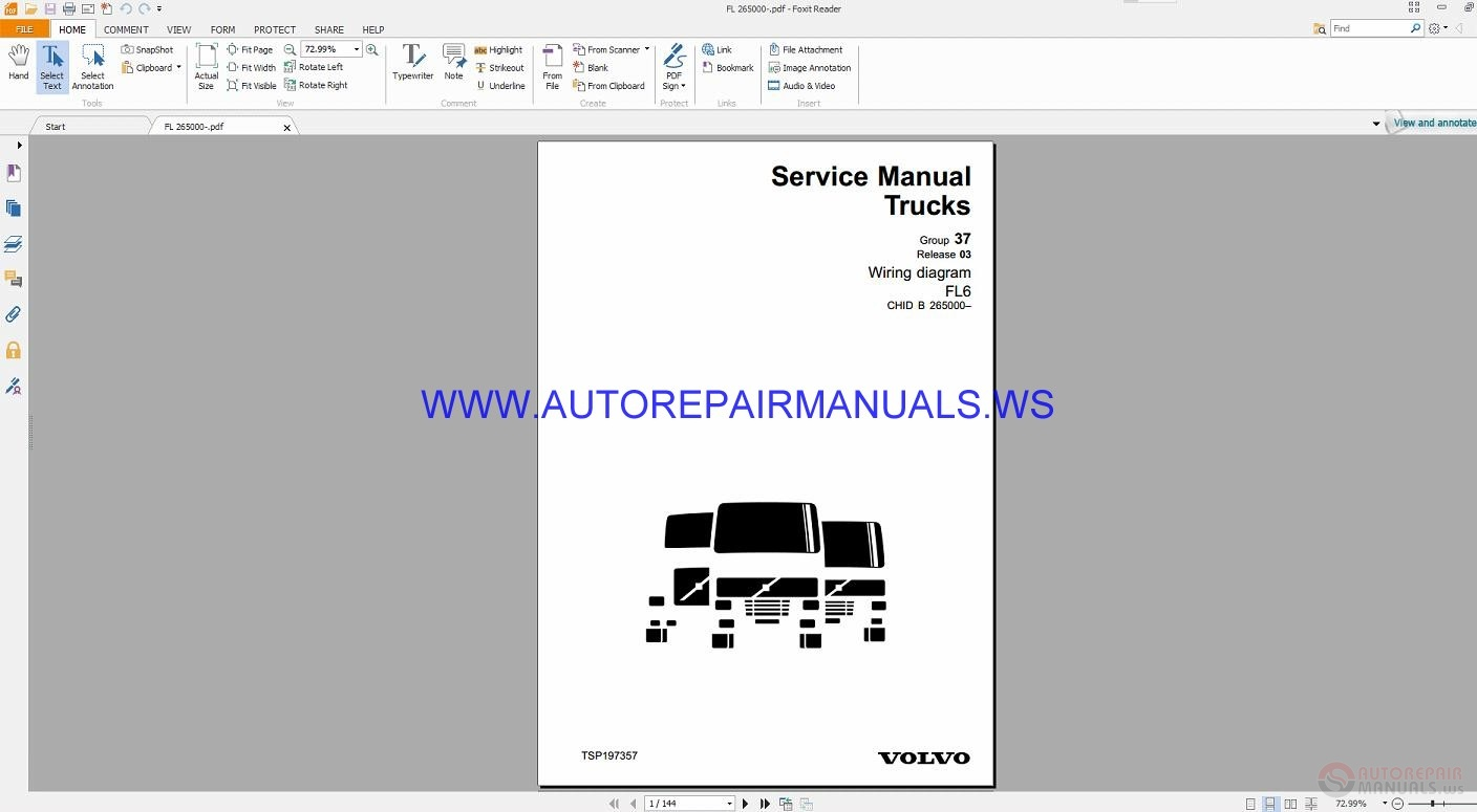 Volvo Fl6 Trucks Wiring Diagrams Service Manual Tsp197357