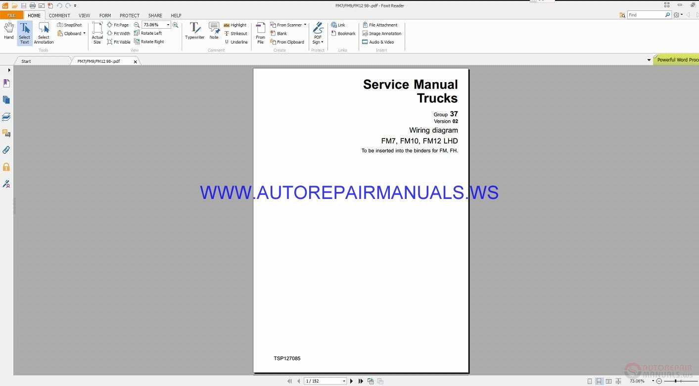 Volvo Fm7  Fm10 Fm12 Lhd Trucks Wiring Diagrams Service Manual Tsp127085