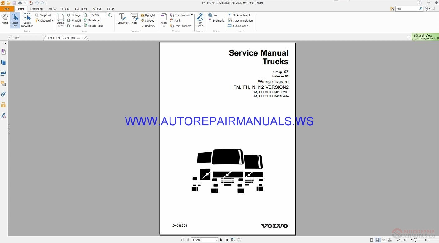 Volvo Fm  Fh  Nh12 Version2 Trucks Wiring Diagrams Service Manual 20046394