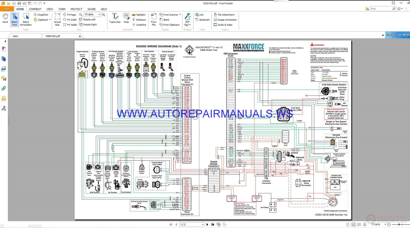 Injector Pump Wiring Diagram Automotive Zd30 Maxxforce Eged430 Control System Diagrams Manual 1kz