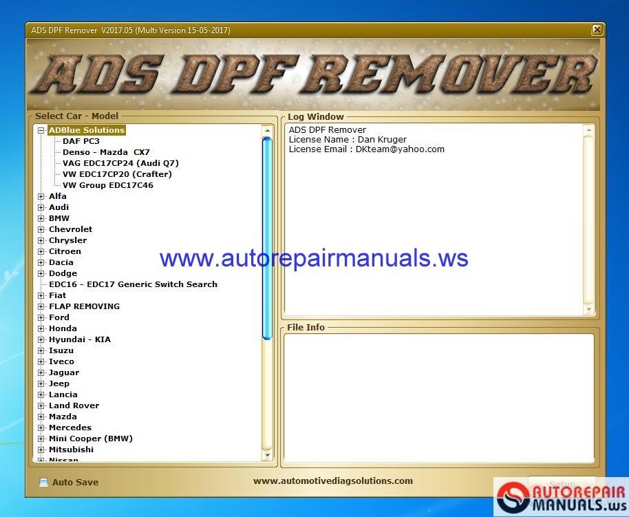 DPF EGR Lambda Remover v2017 05 Full + Instruction | Auto