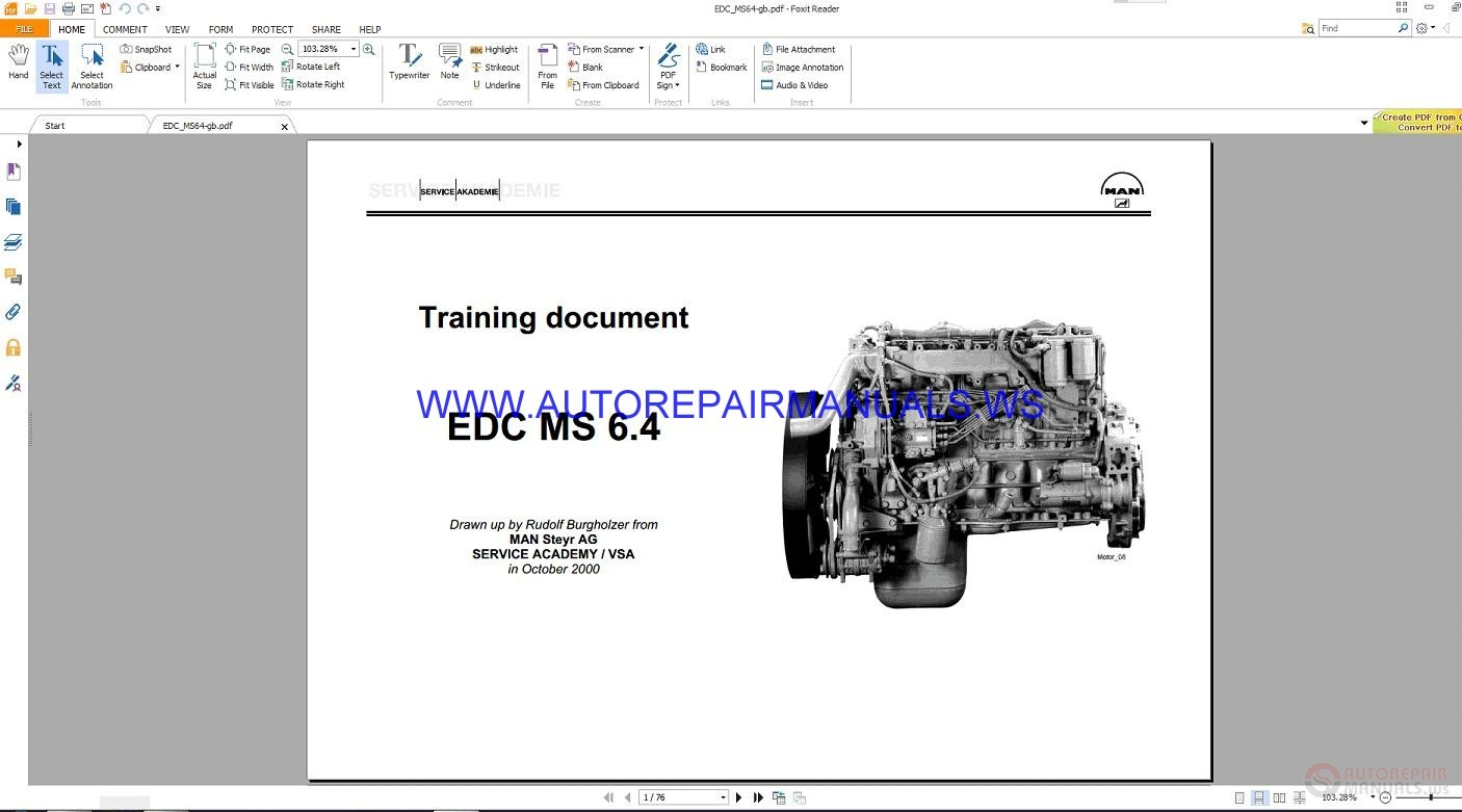 MAN EDC MS6 4 Training Repair Manual | Auto Repair Manual