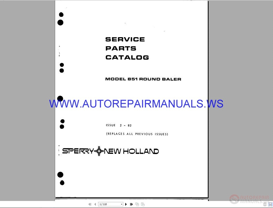 New Holland 851 Ford Round Baler Service Parts Catalogue 2-82 | Auto