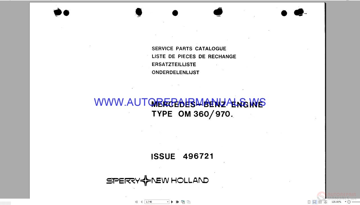 New holland om 360 970 mercedes benz engine service parts for Mercedes benz parts catalog online free download