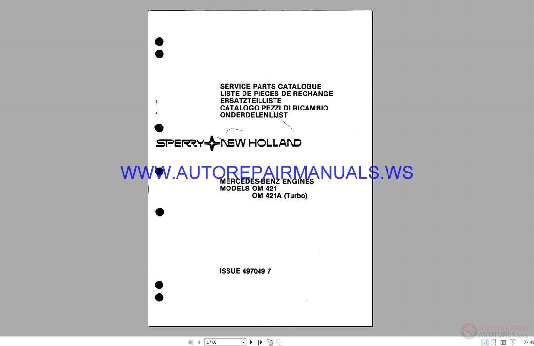 New holland om 421 421a mercedes benz engine service parts for Mercedes benz parts catalog online free download