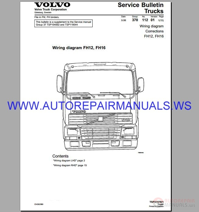 Volvo FH12-16 Trucks Wiring Diagram Service Manual | Auto Repair Manual  Forum - Heavy Equipment Forums - Download Repair & Workshop Manual | Volvo Fh12 Wiring Diagram Pdf |  | Autorepairmanuals.ws