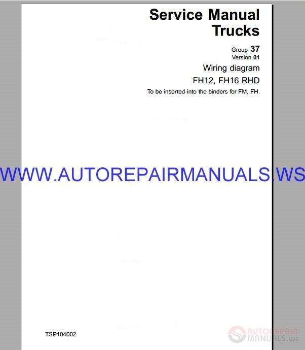 Pleasing Volvo Fh12 Rhd Trucks Wiring Diagram Service Manual Auto Repair Wiring 101 Capemaxxcnl