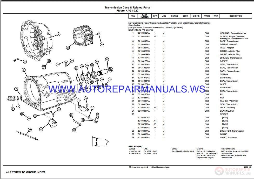 Chrysler Dodge Commander Xk Parts Catalog  Part 2  2006-2008