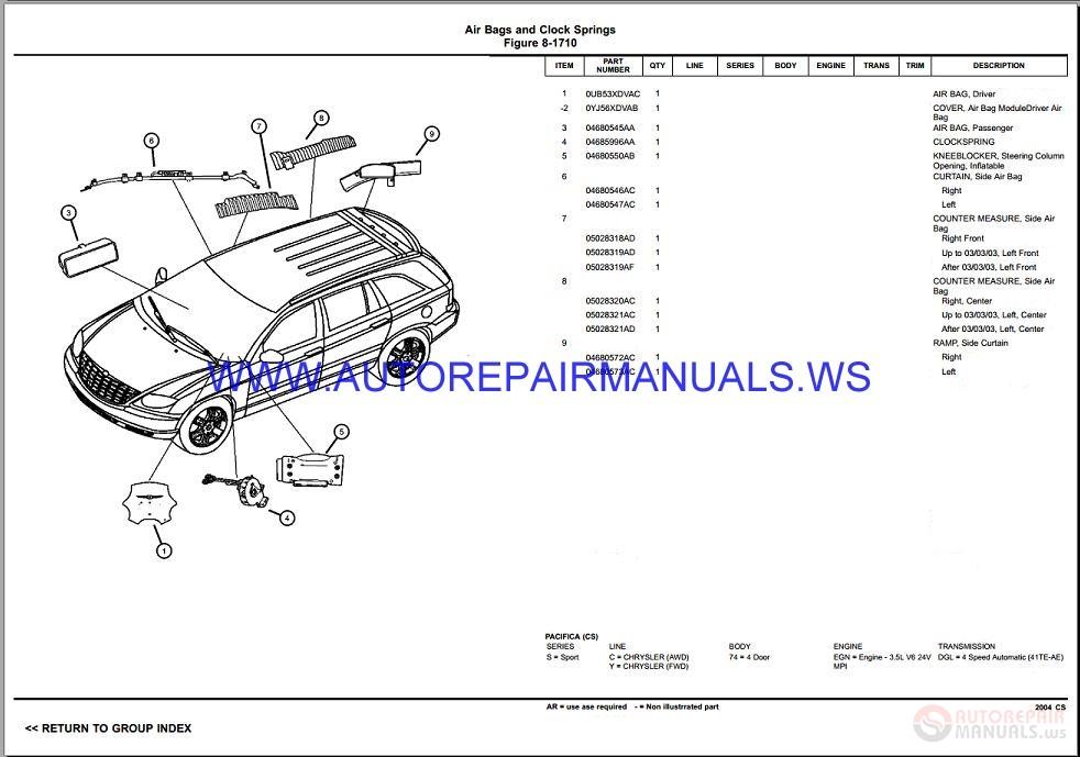 Chrysler Dodge Pacifica Cs Parts Catalog  Part 2  2004-2008