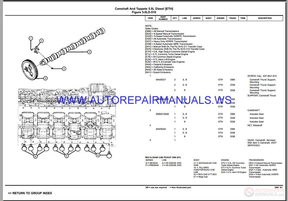 Chrysler Dodge Ram D1 Parts Catalog  Part 2  2006-2008