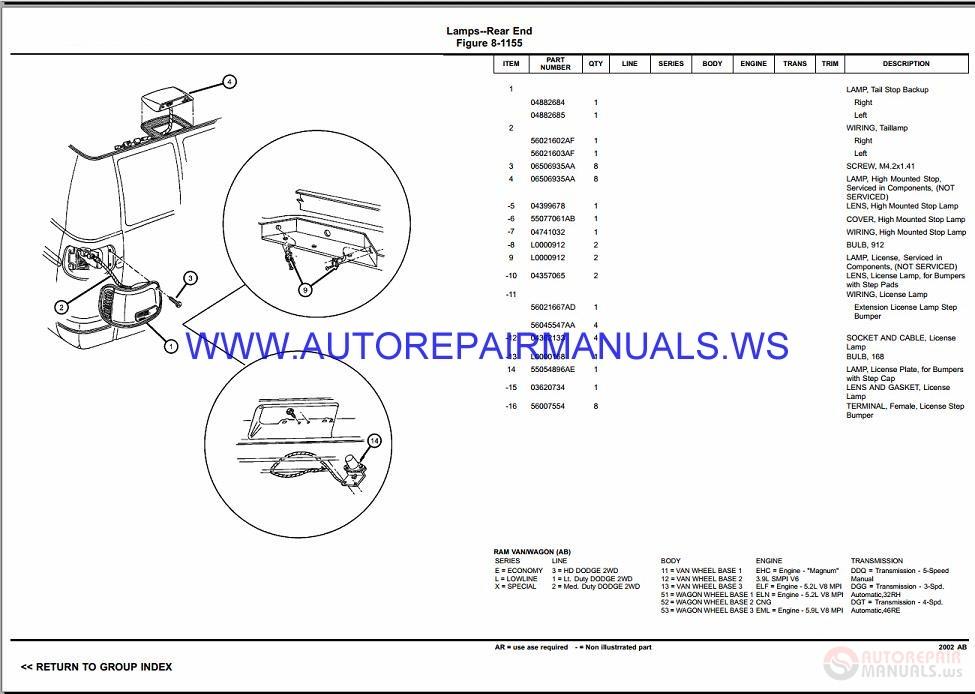 Chrysler Dodge Ram Van Ab Parts Catalog  Part 2  1997-2003