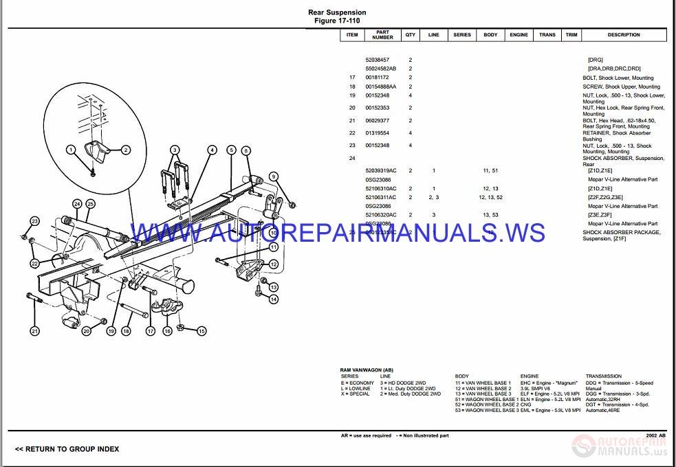 Chrysler Dodge Ram Van Ab Parts Catalog  Part 2  1997