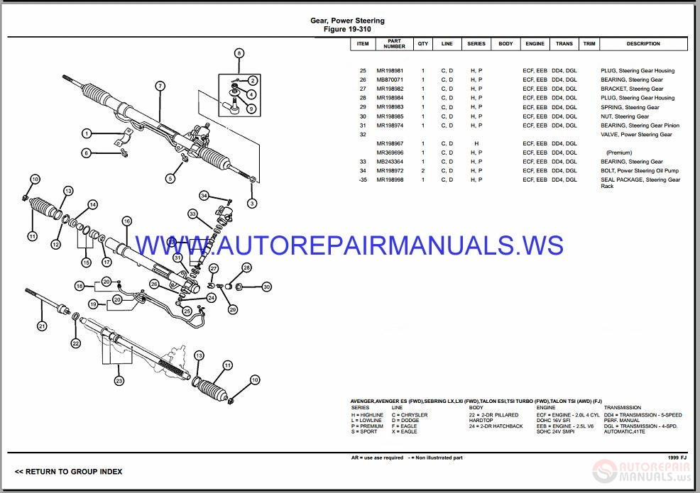 Chrysler Dodge Sebring Fj Parts Catalog  Part 2  1997-1999