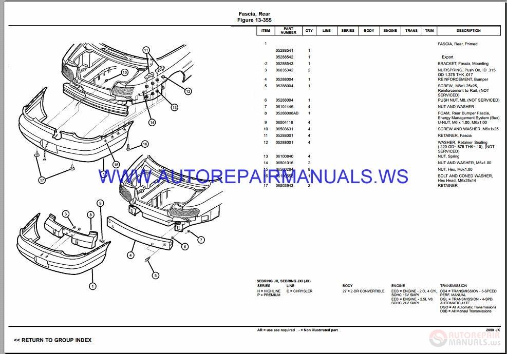 Chrysler Dodge Sebring Jx Parts Catalog  Part 2  1997-2000