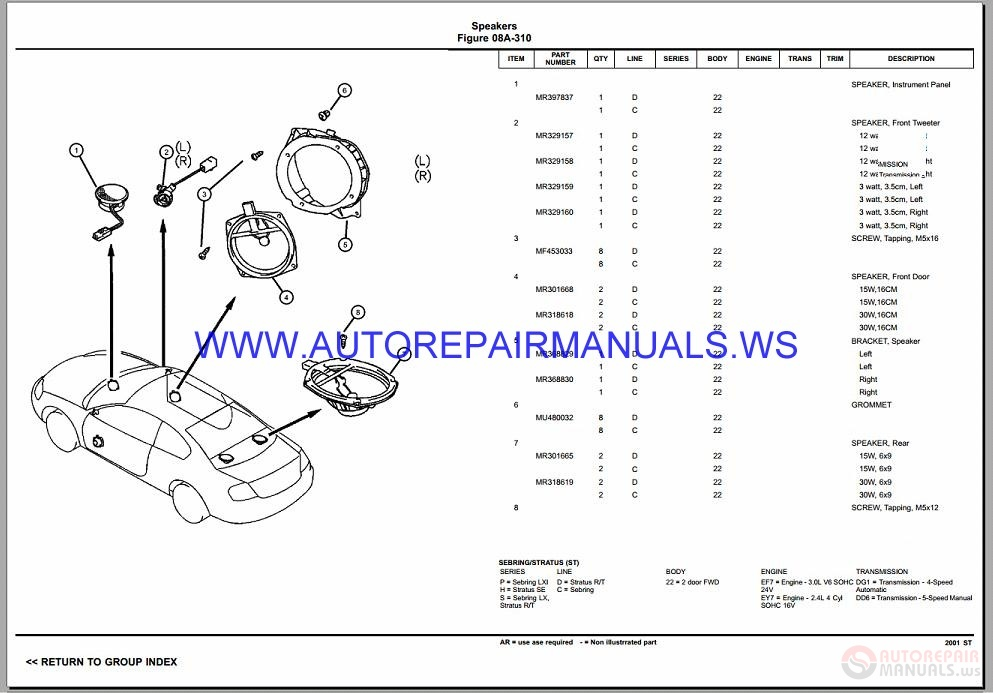 Chrysler Dodge Sebring Stratus St Parts Catalog Part
