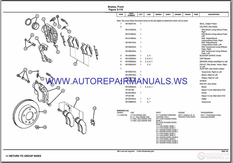 Chrysler Dodge Sprinter Va Parts Catalog  Part 2  2002