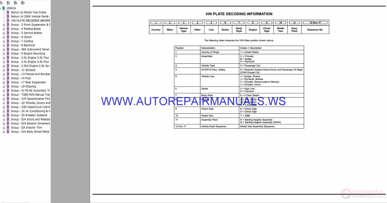 Chrysler Dodge Stratus Ja Parts Catalog Part 2 1997 2000 border=