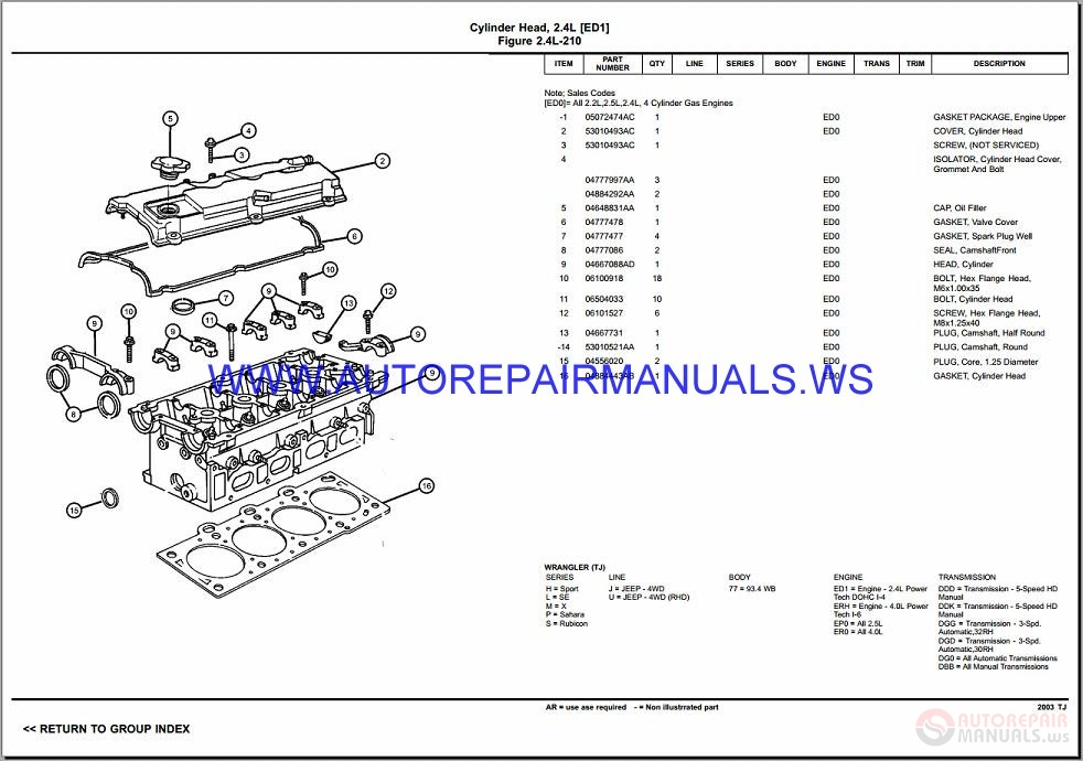 1999 chrysler sebring parts catalog