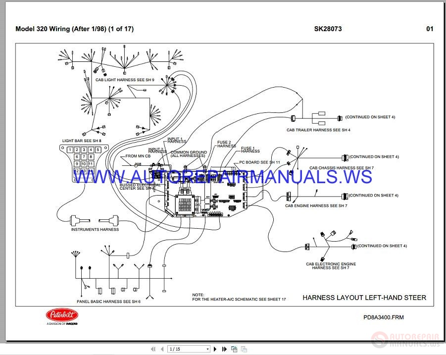 Peterbilt Trucks 320 Wiring Diagrams Maintenance Manual