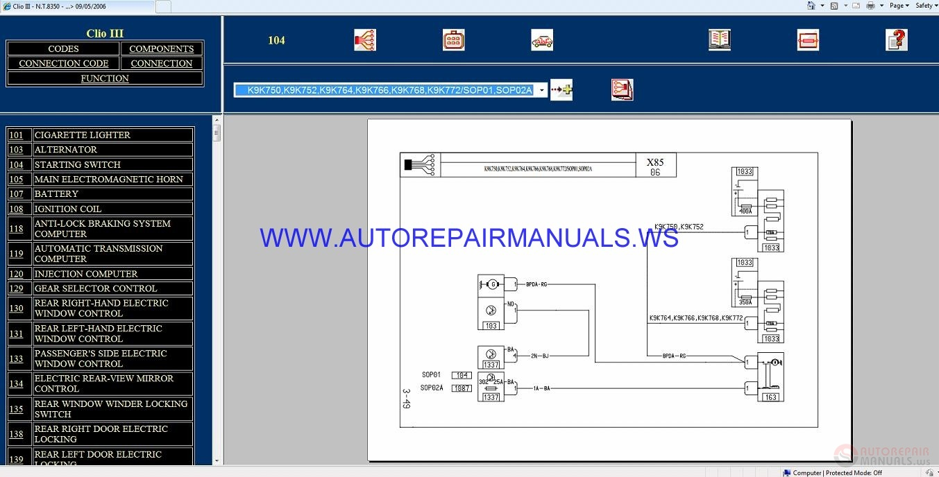 Renault Clio Iii X85 Nt8350 Disk Wiring Diagrams Manual 09