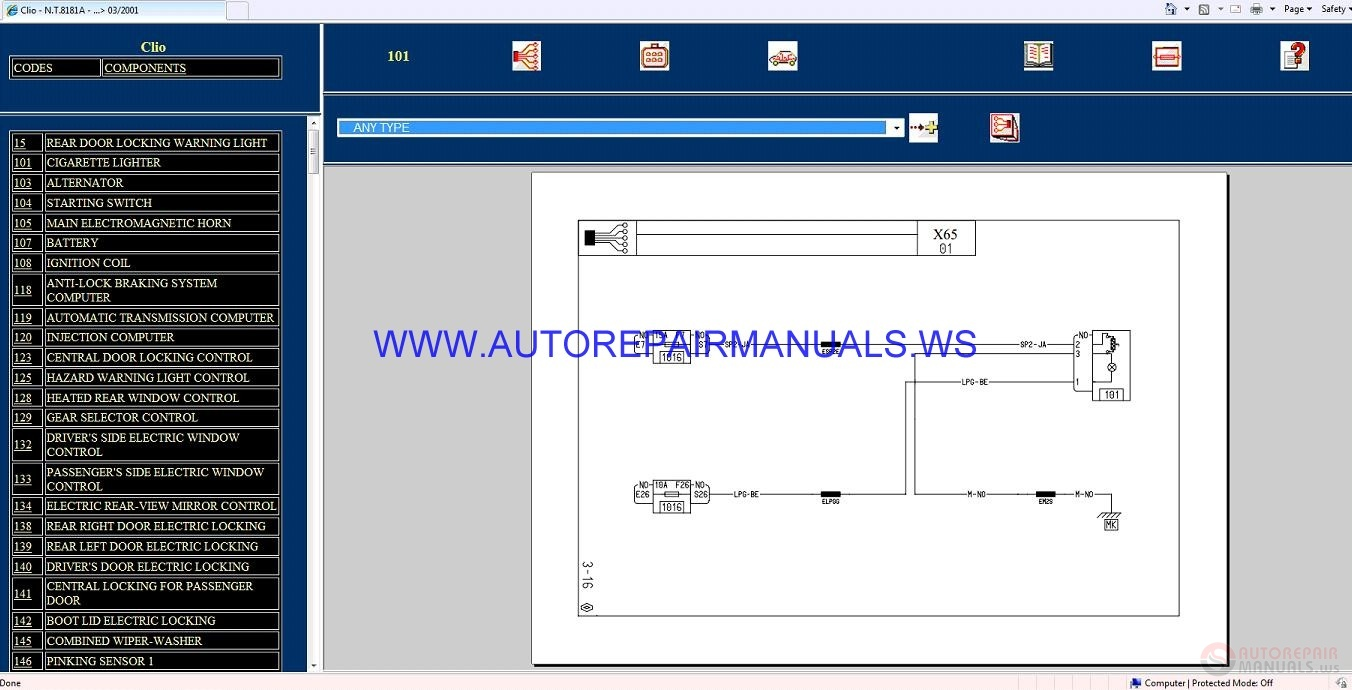 Renault Clio X65 Nt8181a Disk Wiring Diagrams Manual 03-2001