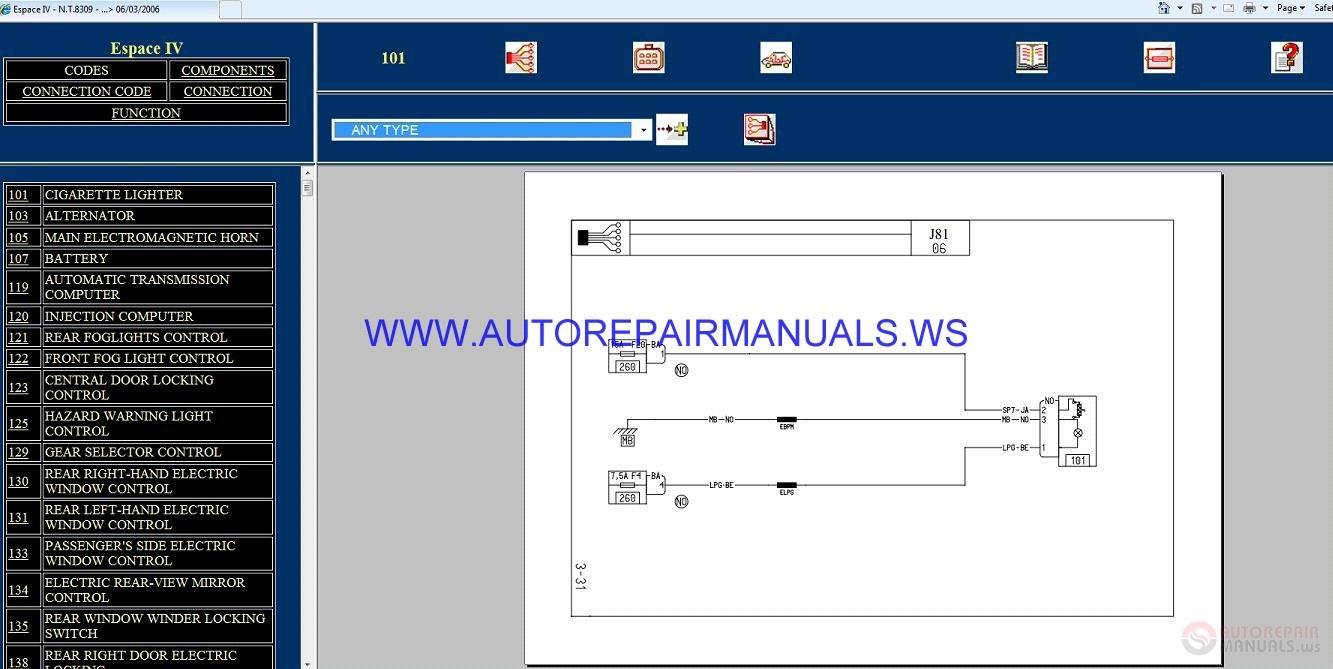 Renault Espace Iv J81 Nt8309 Disk Wiring Diagrams Manual 06