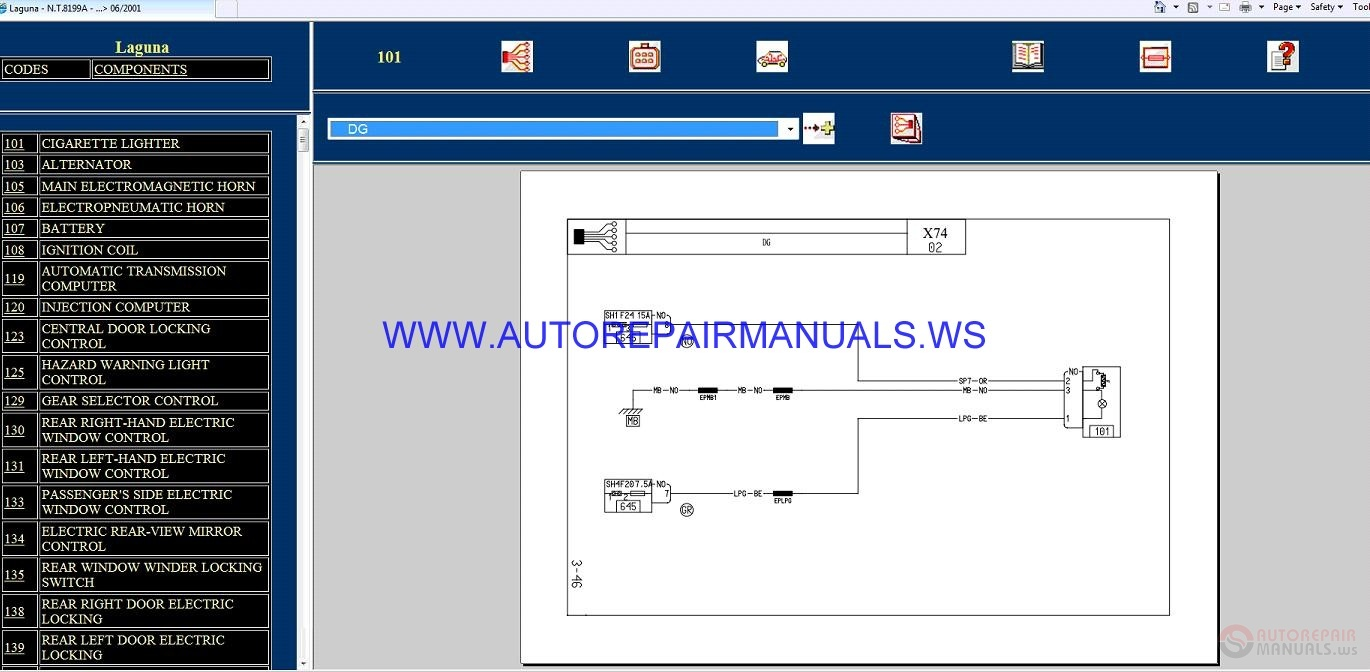 Renault Laguna X74 Nt8199a Disk Wiring Diagrams Manual 06